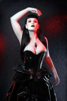 Shiny Black Corset by vampireleniore