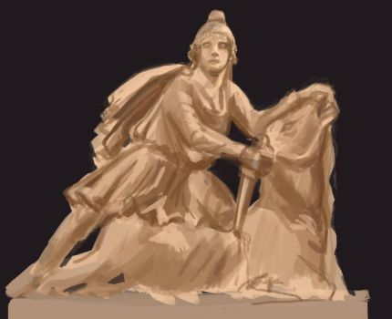 Study: Statue of Mithras by fivetinsoldiers