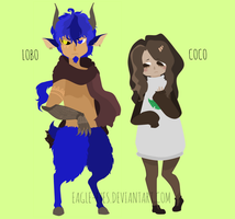 Free Adopts: Lobo and Coco by eagle-eyes