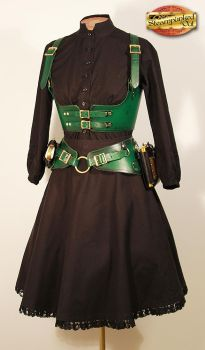 Green Underbust Harness and Utility Belt by Steampunked-Out