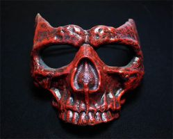 SKULL MASK in red/black finish by Faust-and-Company