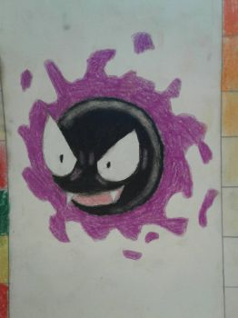 Gastly Charcoal color by luigihorror64