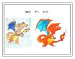 Charizard then and now by The-Emerald-Dragon