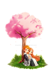 Chibi Ichigo x Orihime [Commission] by MaryCat83