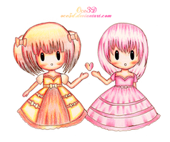 Chocolate and Strawberry Princesses - Mini chibis by Oce3D