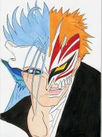 grimmjow and ichigo by Roxashearts