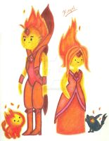 Flame Princess and Flame Prince by Xcoqui