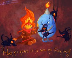 Happiness is a warm fire wolf by CherryBerryLemon