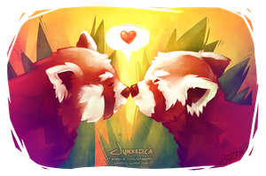 Red Panda Love by Jynxed-Art