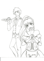 Maid cafe con IINaGeII - Lineart by LorvicMeow