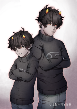 Karkat(kid and adult) by ShiroiAngelz