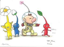 pikmins and capitan olimar by stefano-roca