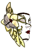 Venetian Mask with Butterfly Tattoo by Metacharis