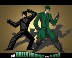The Green Hornet and Kato by digital-klown