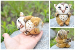 Needle felted barn owl Griffin chicks by SulizStudio