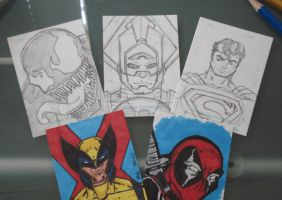 Trading card sketches by RobTorres