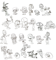 Cartoon Character Doodles by LimeTH