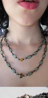 Olive Glass Windows Beaded Double-Necklace by damnheliotrope