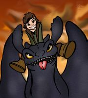Hiccup and Toothless by KayVeeAye