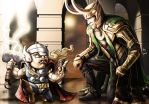 Loki and Lil Dude Thor by Robert-Shane