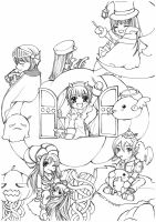 Lineart For Share - 17 Ragnarok - Halloween Party by TashaChan