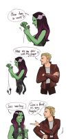Gamora and Peter Quill by 0vas