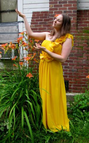 Girl and Day Lilies by Whimseystock