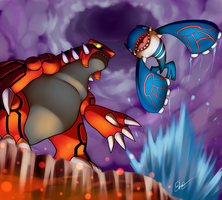 Groudon vs Kyogre by AzureBladeXIII