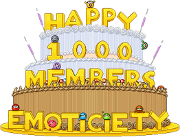 1,000 Members cake: static by izzy-the-hedgehog