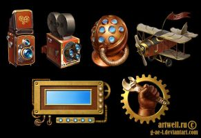 steampunk icons by g-ae-l