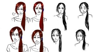 Partly colored facial expressions by Morgan-The-Pirate