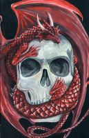 Red Dragon with Skull by TheLadyFalcon