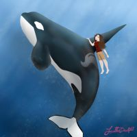 Underwater with an Orca by ArtisinmyHeart