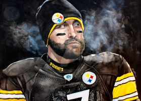 Pittsburgh Steelers Ben Roethlisberger watercolor by MichaelPattison