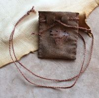 Painted brown bear pouch by lupagreenwolf