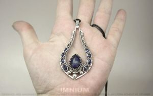 Lapis lazuli, kyanite and sterling silver pendant by IMNIUM