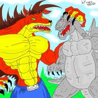 CRASH ZILLA VS GODZILLA_FANART by trextrex65
