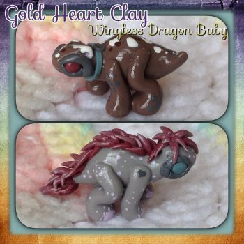 Wingless Dragon Babies made with colored clay! by Gold-Heart-Clay