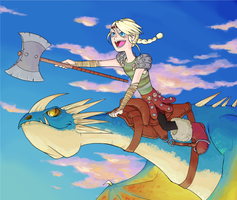 Astrid and her dragon by Dice-K