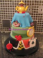 3 Tier Alice In Wonderland Cake by SugarplumB