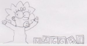 Maggie Simpson with her blocks by AuxiliatrixDisciples
