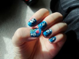 Dino and Panda nails by MelodicInterval