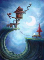 Cabin on a Cliff by Sadhira