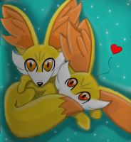 Fennekin Cuddles by redwolf18blue