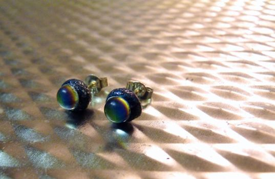 Purple Iridescent Sparkly Stud Earrings by Divulged