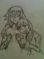 Maka and Crona hugs! (Sketch) by Ludifer