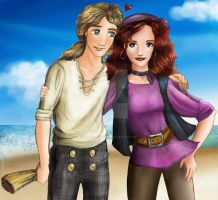 Guybrush and Elaine- Coloured by atlantiluna