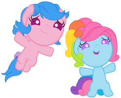 Firefly and G3 Rainbow Dash as Babies by Beavernator