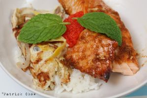 Terayaki salmon on rice by patchow