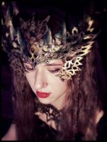 Golden forest headdress by VioletIcarus